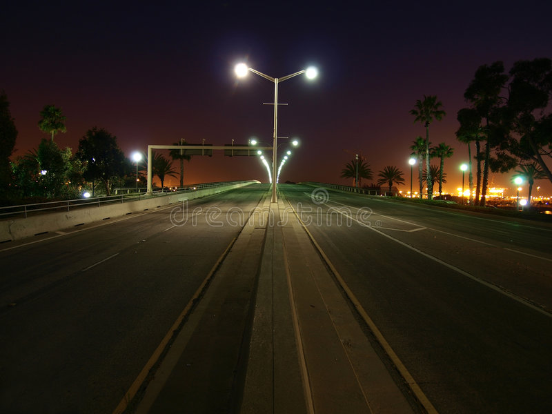 Noite da estrada da palmeira foto de stock royalty free