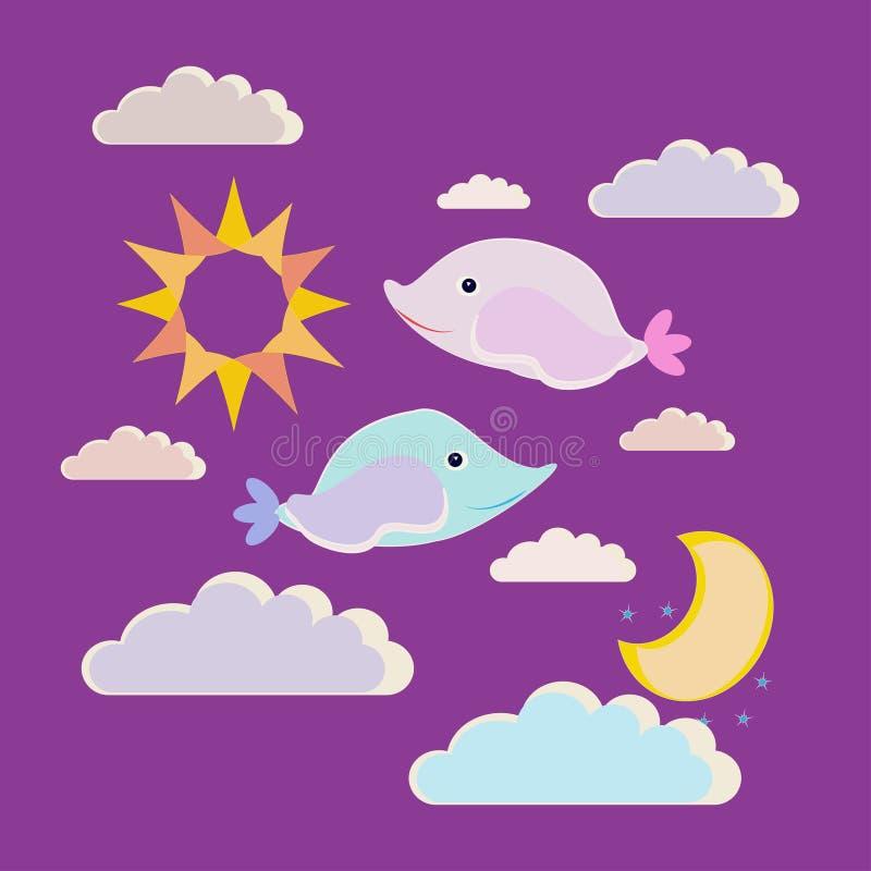 Noite da ilustração do vetor boa Dois peixes pequenos pequenos desejam sonhos doces ilustração stock