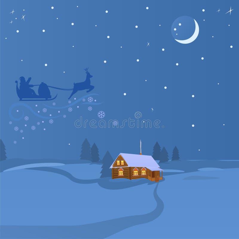 Noite da mágica do Natal ilustração do vetor