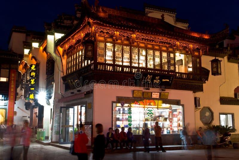 Noite da rua de Tunxi da cidade de Huangshan da província de Anhui imagem de stock