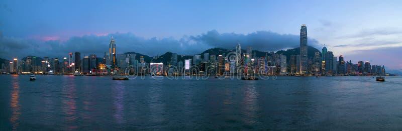 Noite da skyline de Hong Kong Island Central City imagens de stock royalty free