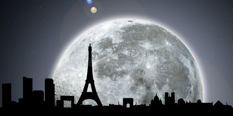 Noite da skyline de Paris com lua ilustração do vetor