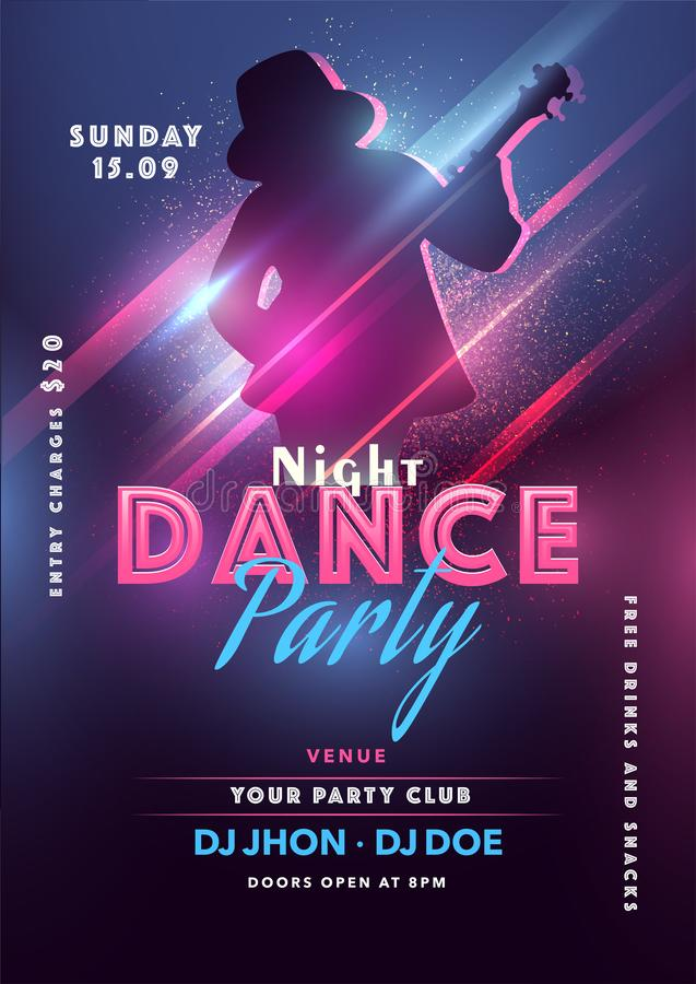 Noite Dance Party Flyer Design com Silhout Guy Tocando Violão e Venue fotos de stock royalty free