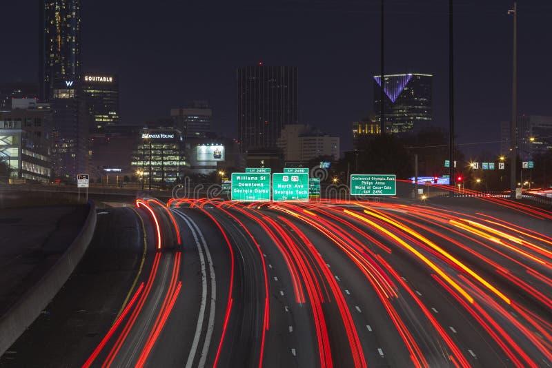 Noite de Atlanta Interstae 85 imagens de stock