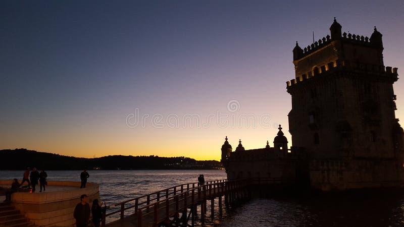 Noite de Belém Lisboa Portugal Sun imagem de stock royalty free
