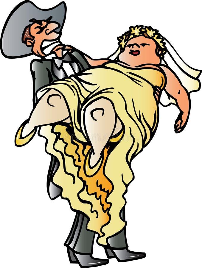 Noite de casamento do cowboy ilustração do vetor