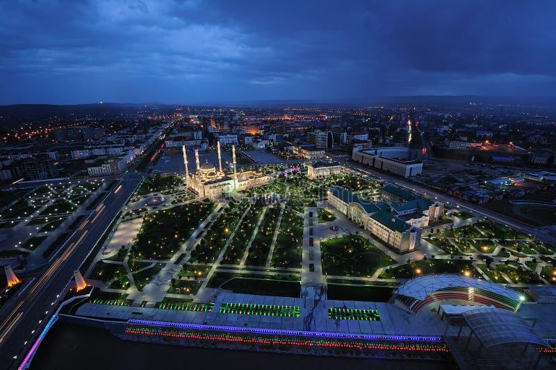 Noite de Chechnya, Grozny fotos de stock