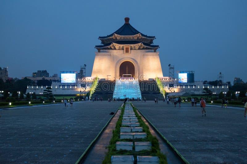 Noite de Chiang Kai Shek Memorial Hall Taipei fotos de stock