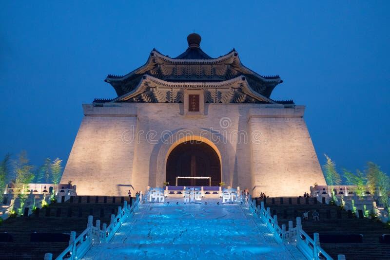 Noite de Chiang Kai Shek Memorial Hall Taipei imagens de stock