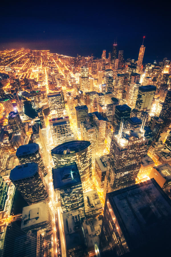 Noite de Chicago imagens de stock