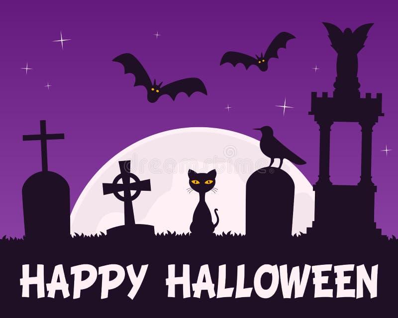 Noite de Dia das Bruxas com cemitério assustador ilustração royalty free