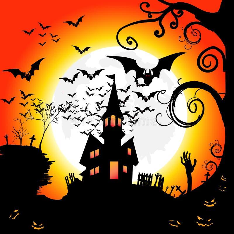 Noite de Dia das Bruxas com lua e bastões, ilustração EPS 10 do vetor ilustração do vetor