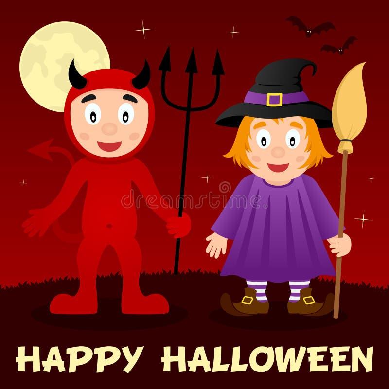 Noite de Dia das Bruxas - diabo vermelho & bruxa bonito ilustração do vetor