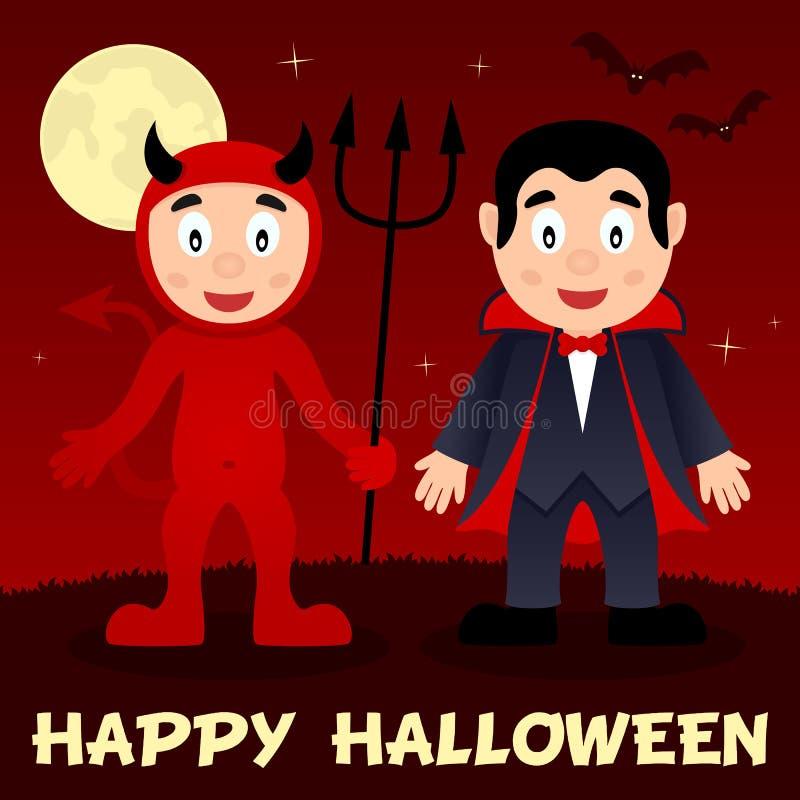 Noite de Dia das Bruxas - diabo vermelho & Dracula ilustração stock
