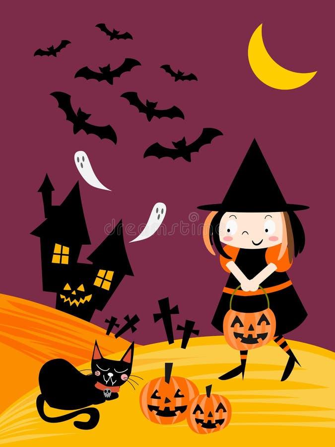Noite de Dia das Bruxas e fundo bonito da bruxa ilustração stock