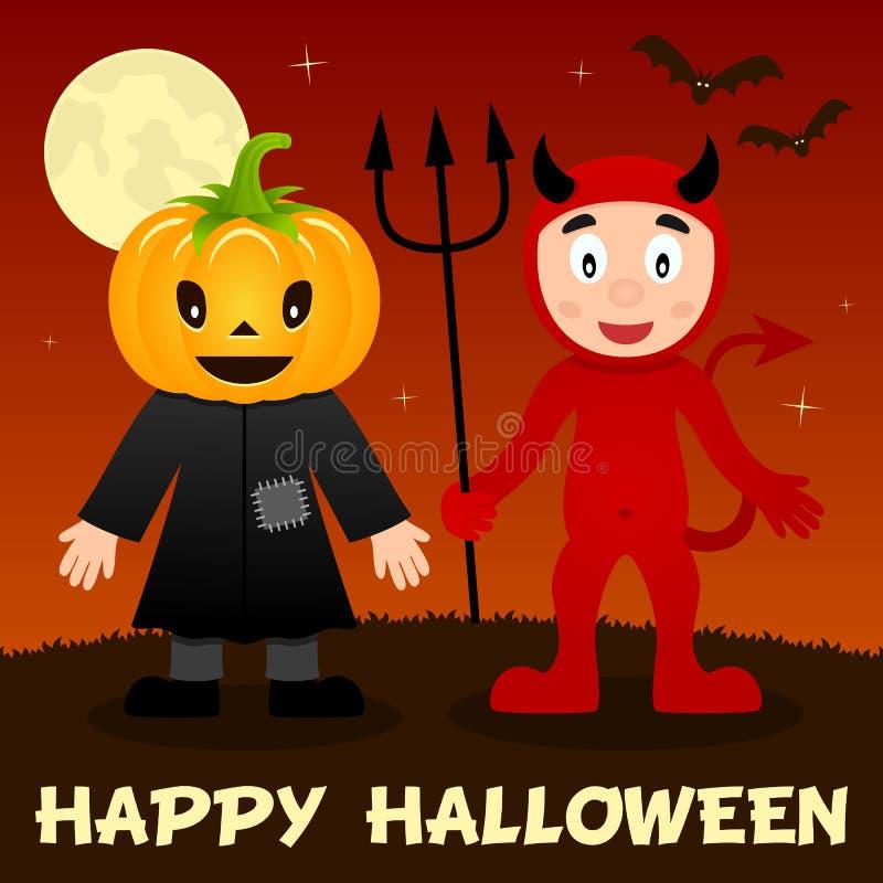 Noite de Dia das Bruxas - espantalho & diabo vermelho ilustração royalty free