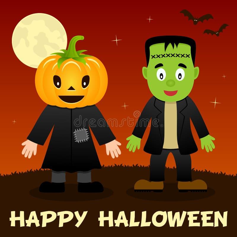 Noite de Dia das Bruxas - espantalho & Frankenstein ilustração stock