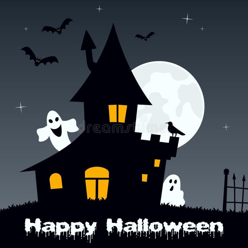 Noite de Dia das Bruxas - fantasmas & casa assombrada ilustração do vetor