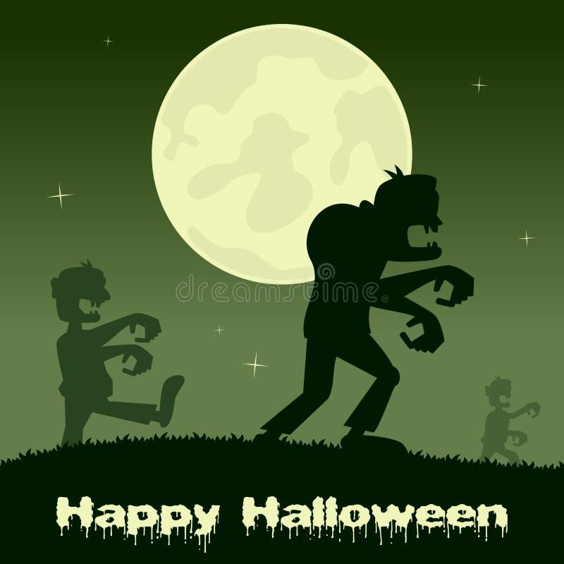 Noite de Dia das Bruxas - zombis e Lua cheia ilustração royalty free