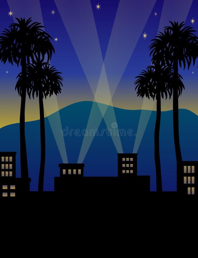 Noite de Hollywood ilustração stock