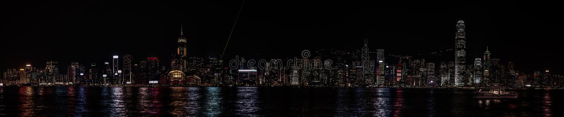 Noite de Hong Kong do panorama foto de stock royalty free