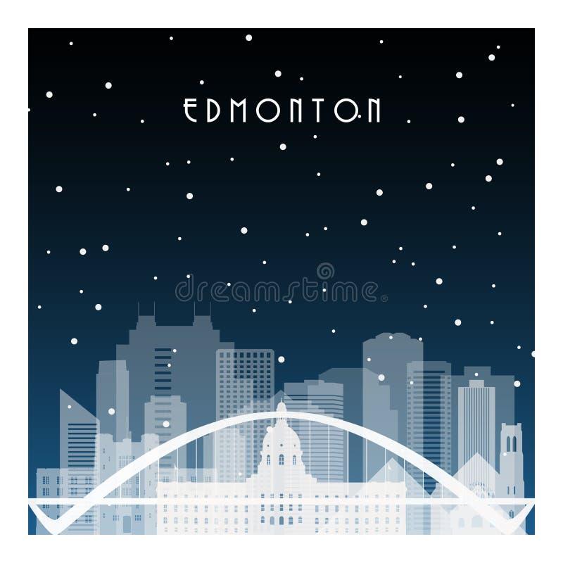 Noite de inverno em Edmonton ilustração do vetor