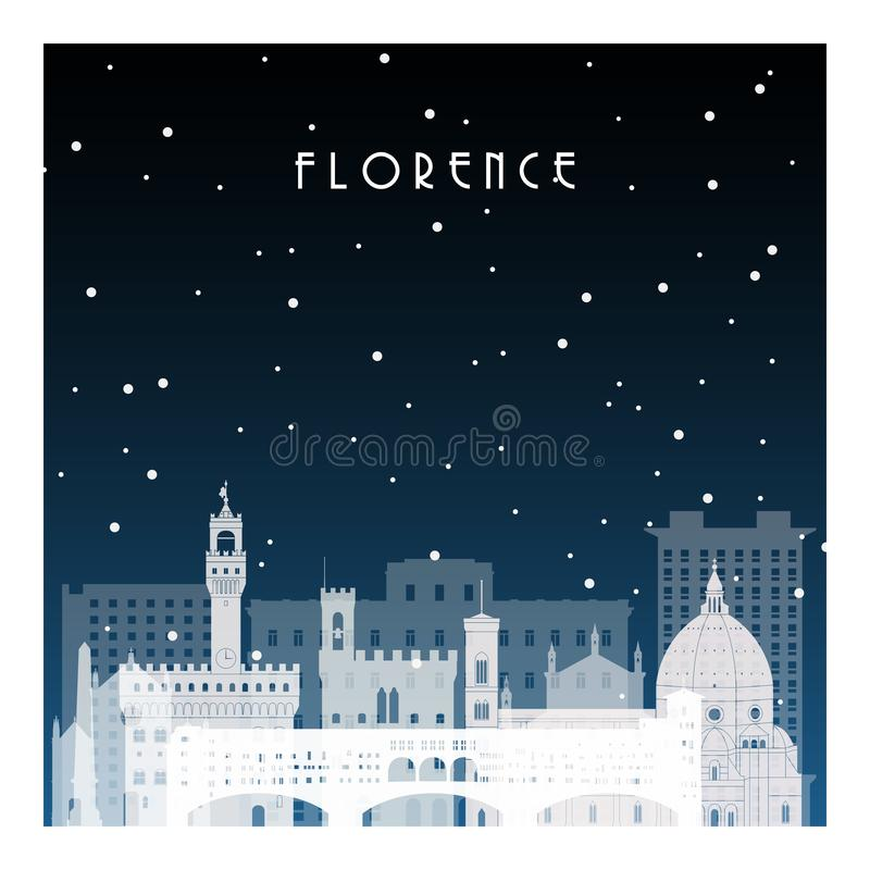 Noite de inverno em Florença ilustração royalty free