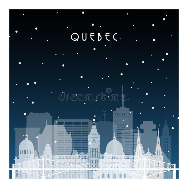 Noite de inverno em Quebec ilustração stock