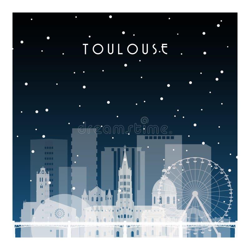Noite de inverno em Toulouse ilustração royalty free