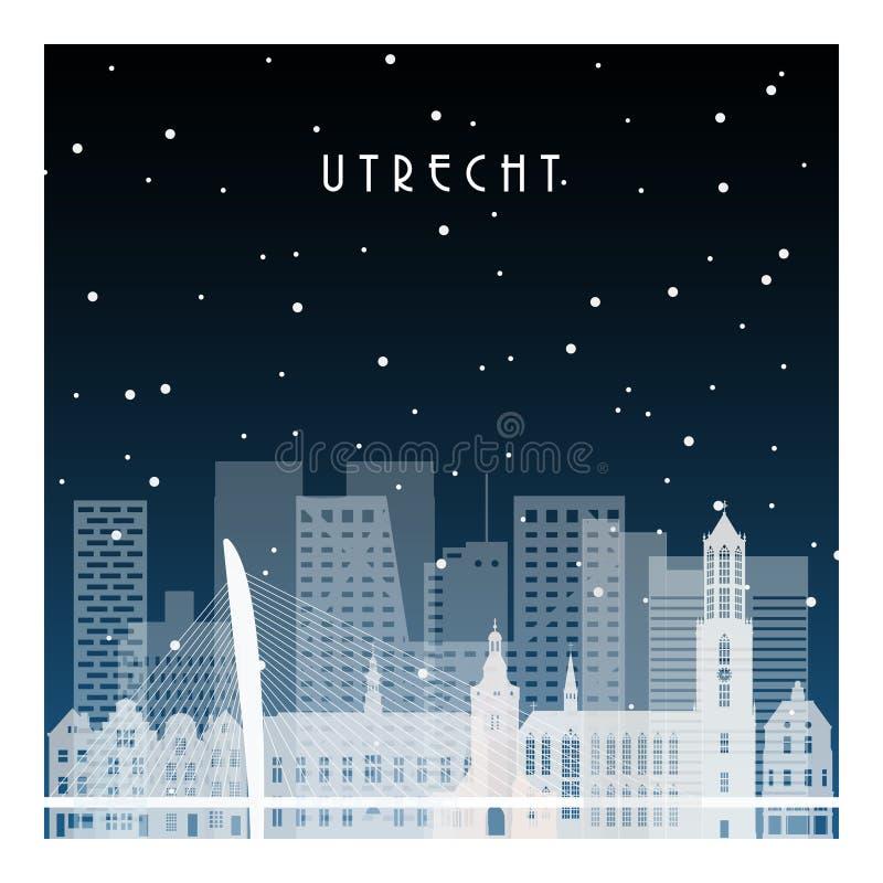 Noite de inverno em Utrecht ilustração stock