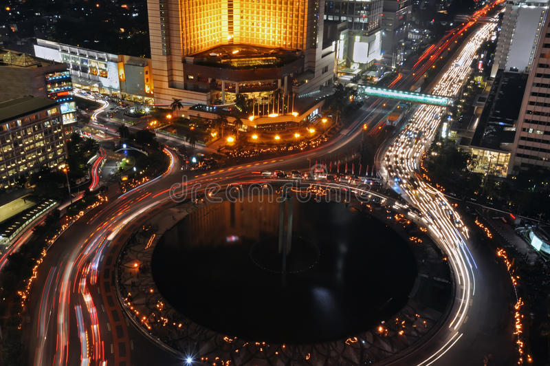 Noite de Jakarta fotografia de stock