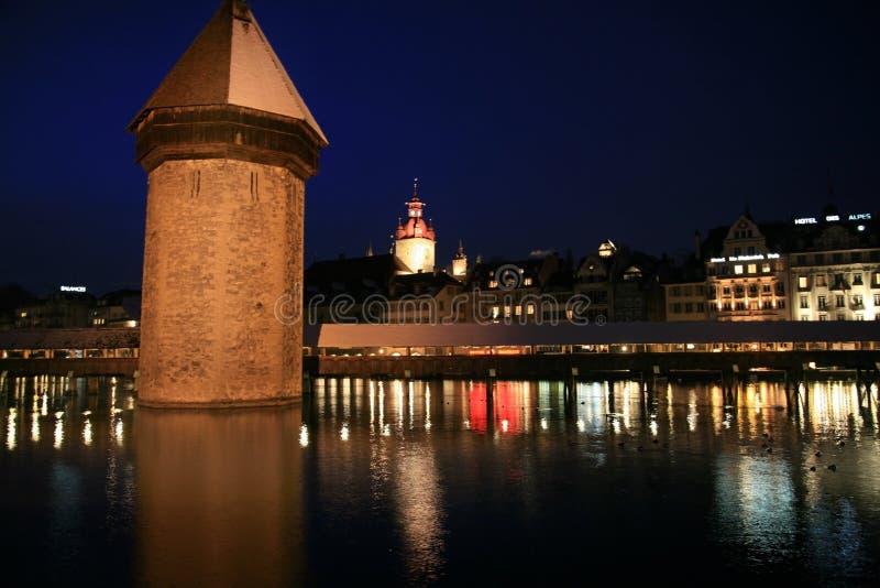 Noite de Luzern fotografia de stock