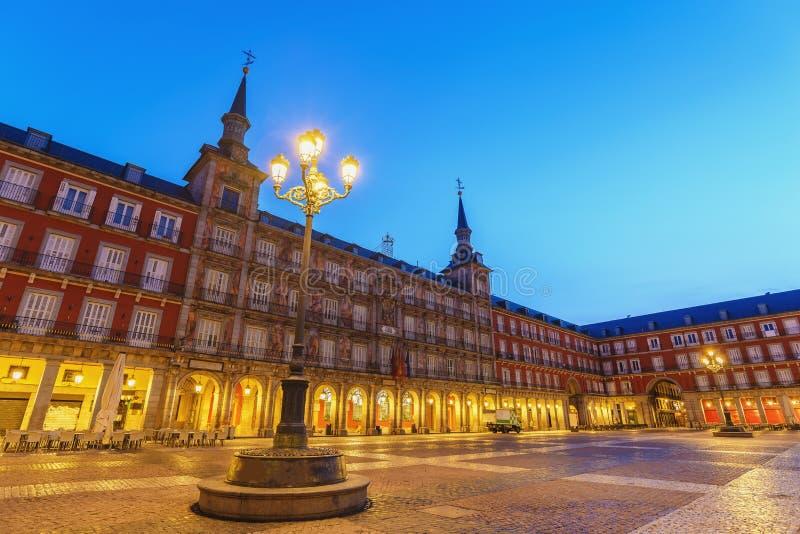 Noite de Madrid, Espanha, no Plaza Mayor imagem de stock royalty free