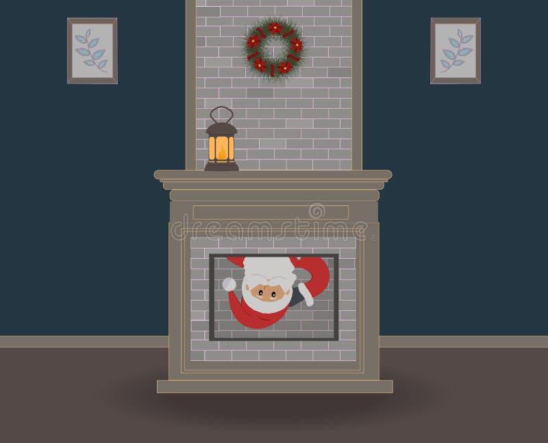 Noite de Natal As espreitadelas engraçadas bonitos de Santa Claus na casa através da chaminé e do você podem somente ver sua cara ilustração do vetor