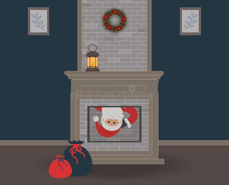 Noite de Natal As espreitadelas engraçadas bonitos de Santa Claus na casa através da chaminé e do você podem somente ver sua cara ilustração stock