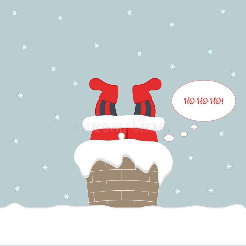 Noite de Natal As espreitadelas engraçadas bonitos de Santa Claus na casa através da chaminé e podem somente ver seus pés e dizer ilustração do vetor