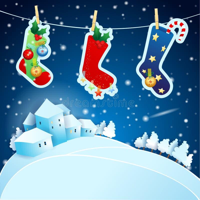 Noite de Natal com peúgas e paisagem ilustração royalty free