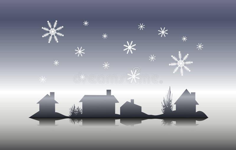 Noite de Natal da silhueta da casa do inverno ilustração stock