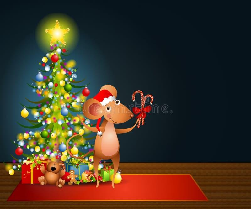 Noite de Natal de Santa do rato ilustração do vetor