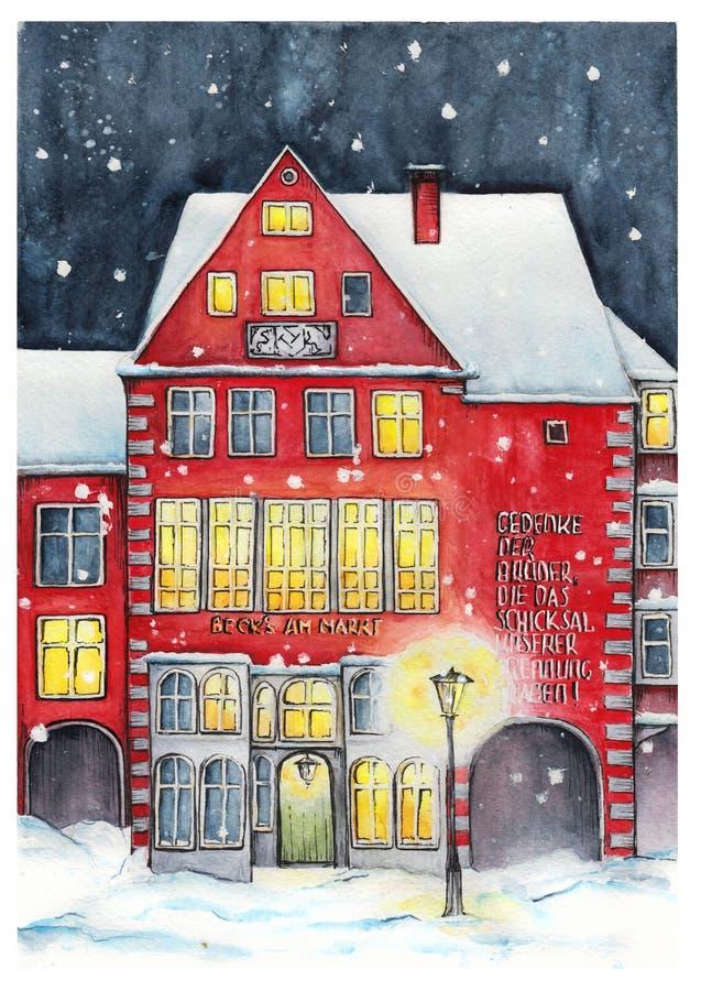 Noite de Natal em Brema ilustração do vetor