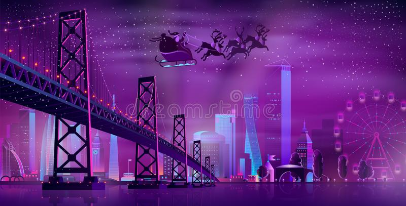Noite de Natal no vetor dos desenhos animados da metrópole ilustração royalty free