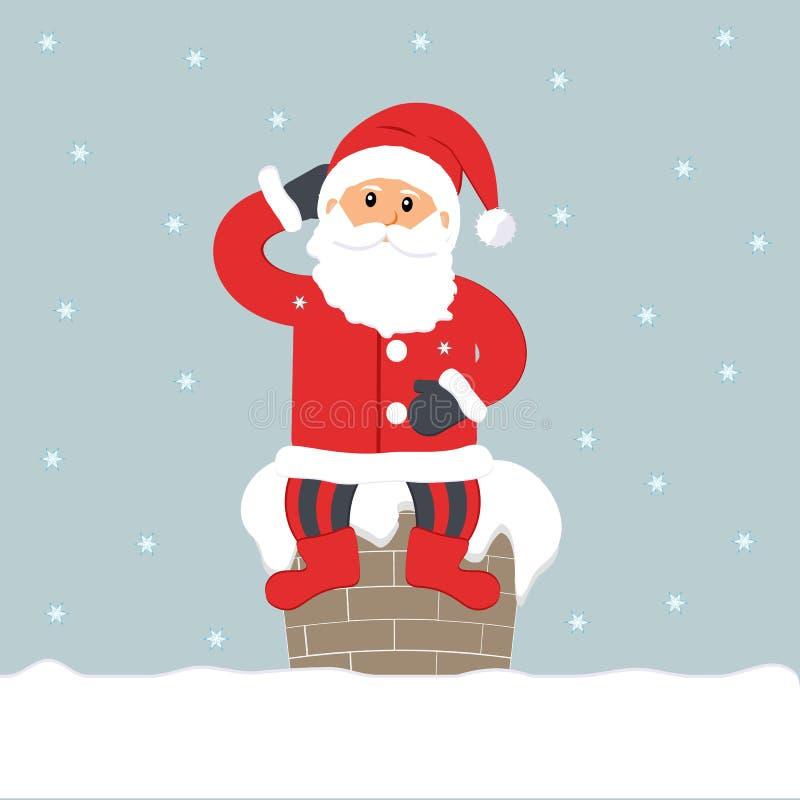 Noite de Natal Santa Claus engraçada bonito que senta-se na chaminé ilustração stock