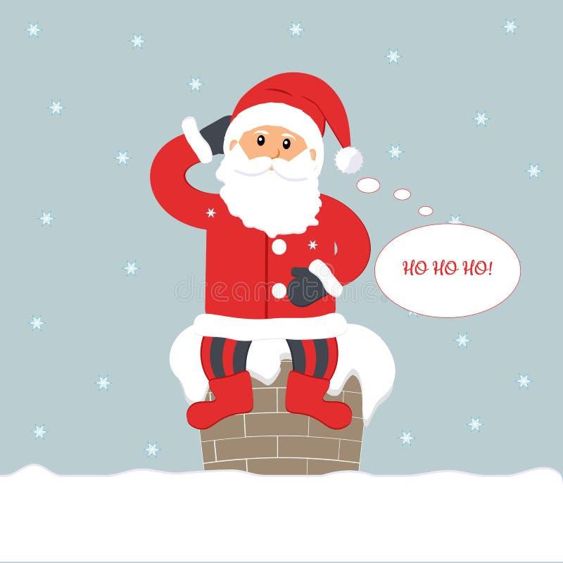 Noite de Natal Santa Claus engraçada bonito que senta-se na chaminé que pensa e que diz 'Ho ho ho! ' ilustração stock