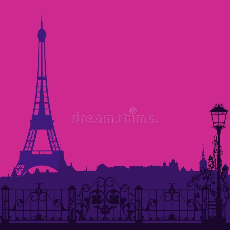 Noite de Paris ilustração do vetor