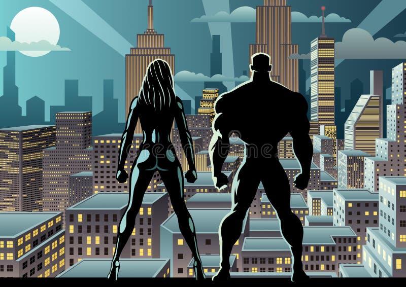 Noite de relógio 2 dos pares do super-herói ilustração royalty free