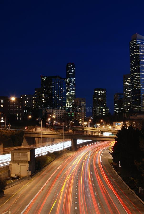 Noite de Seattle foto de stock royalty free