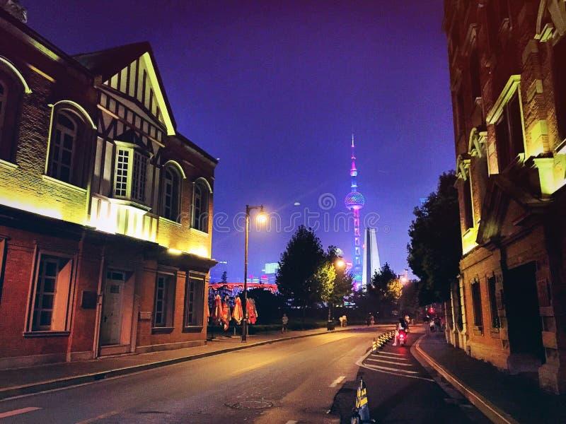 Noite de Shanghai fotografia de stock
