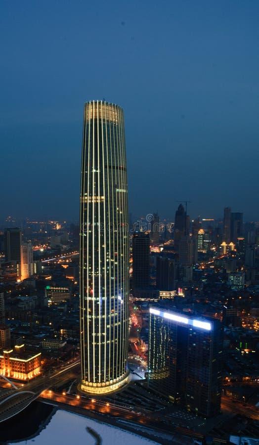 A noite de Tianjin, China imagens de stock royalty free