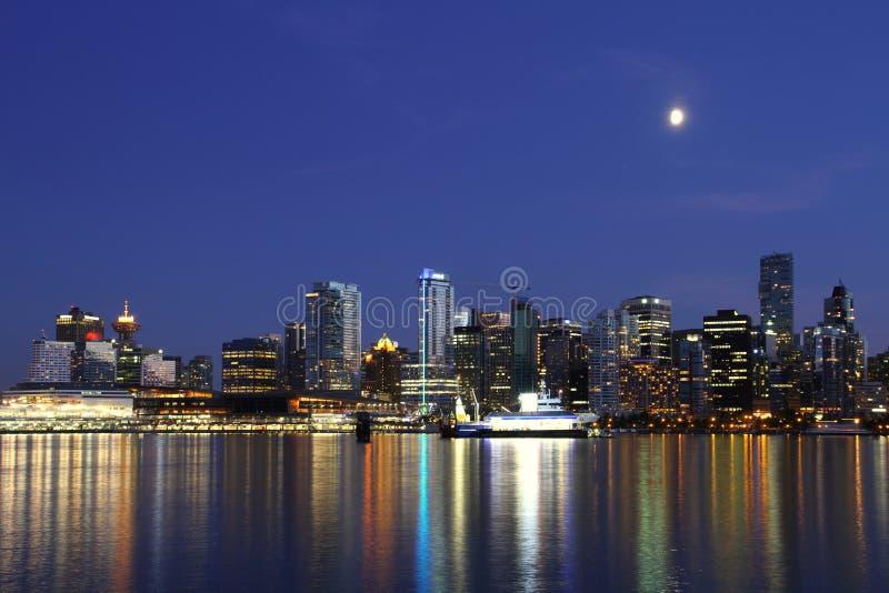 Noite de Vancôver, Canadá imagem de stock