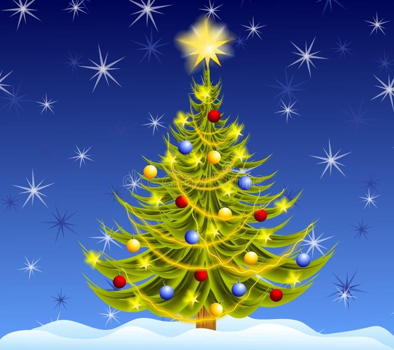 Noite decorada da árvore de Natal ilustração royalty free